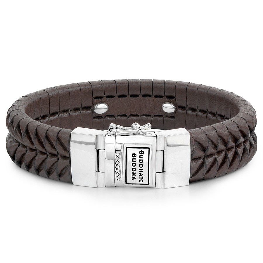 161BR Komang Leather Brown Armband, Buddha to Buddha