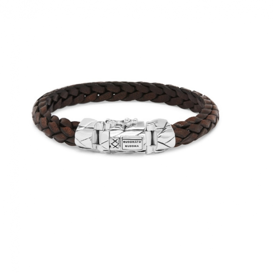 126BR Mangky Small Leather Bracelet Brown, Buddha to Buddha