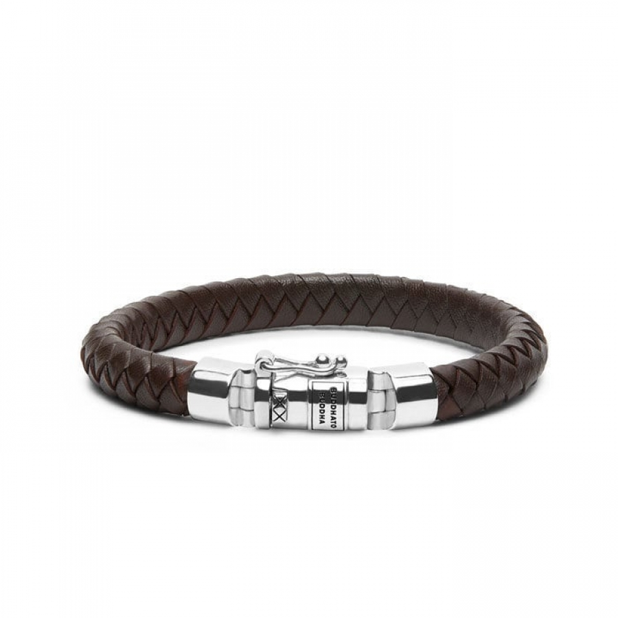 180BR Ben Small Leather Brown Bracelet, Buddha to Buddha