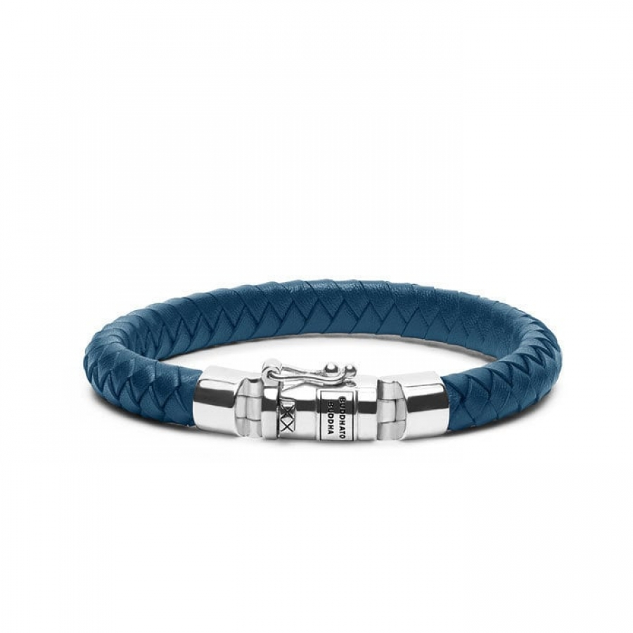 180BU Ben Small Leather Blue Bracelet, Buddha to Buddha