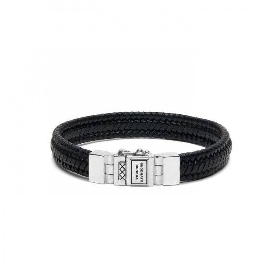 181BL Edwin Small Leather Black Bracelet, Buddha to Buddha