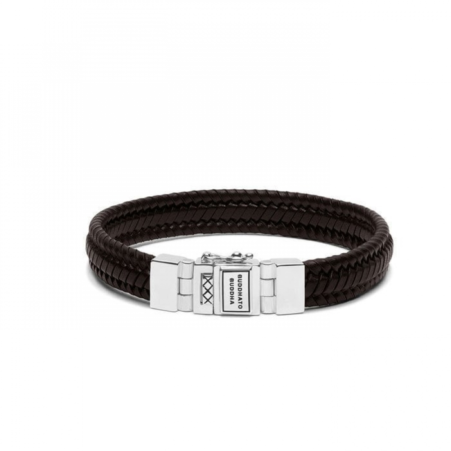181BR Edwin Small Leather Brown Bracelet, Buddha to Buddha