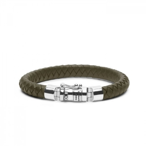 180OL Ben Small Leather Olive Bracelet, Buddha to Buddha