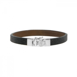 186BL Essential Leather Texture Black Bracelet, Buddha to Buddha