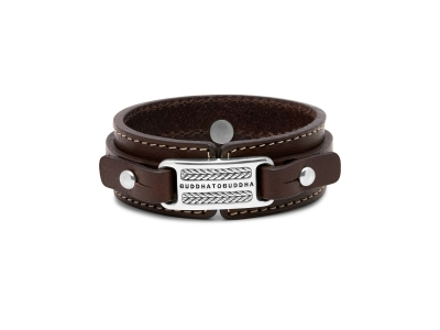 140BR Jantan Leather Brown Armband, Buddha to Buddha