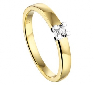 14K Geelgouden ring diamant