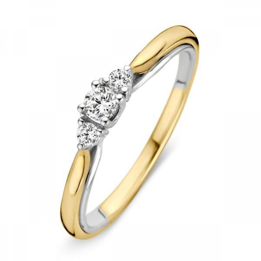 Bicolor Geel en Witgouden Ring Diamant, Excellent Jewelry