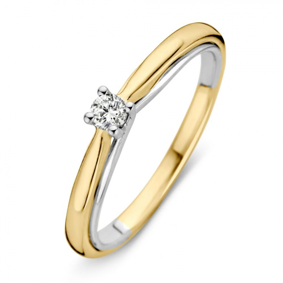 RG416140 Gouden bicolour ring met diamant, Excellent Jewelry