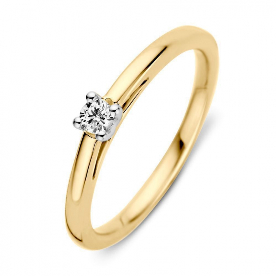 Bicolor Geel en Witgouden Ring Diamant , Excellent Jewelry