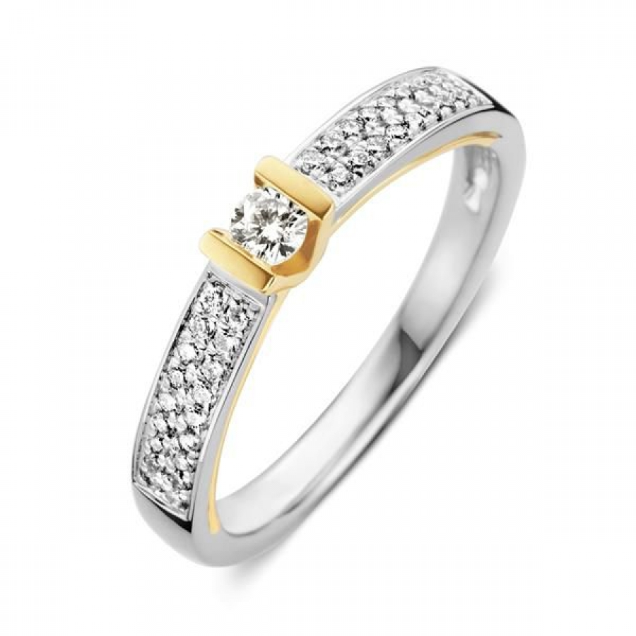 Bicolor Wit en Geelgouden Ring met Diamant RG416663, Excellent Jewelry