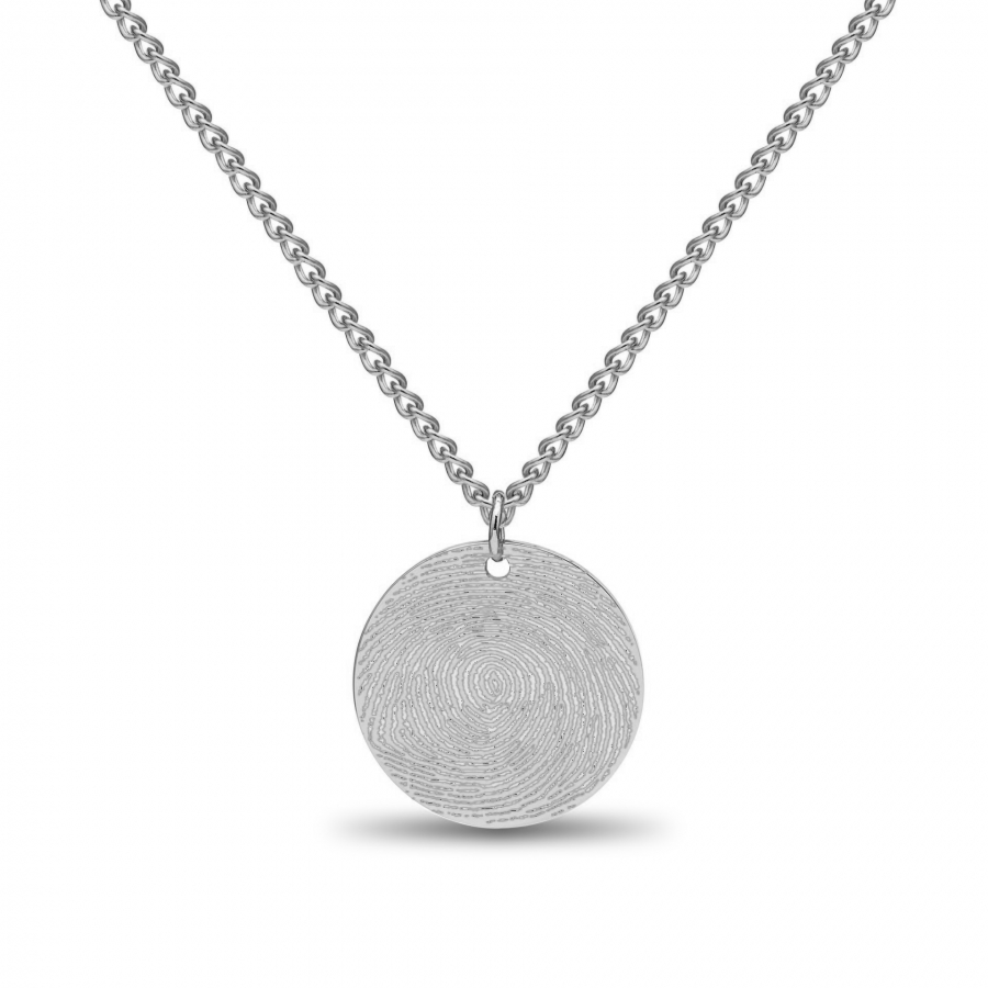 Coin Fingerprint Necklace Silver, Valenti Memori