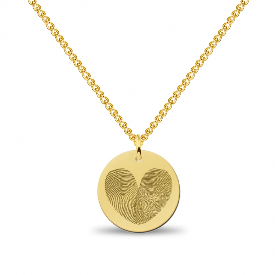 Coin 2in1 Hart Fingerprint Necklace Gold, Valenti Memori