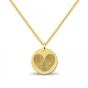 Coin 2in1 Hart Fingerprint Necklace Gold