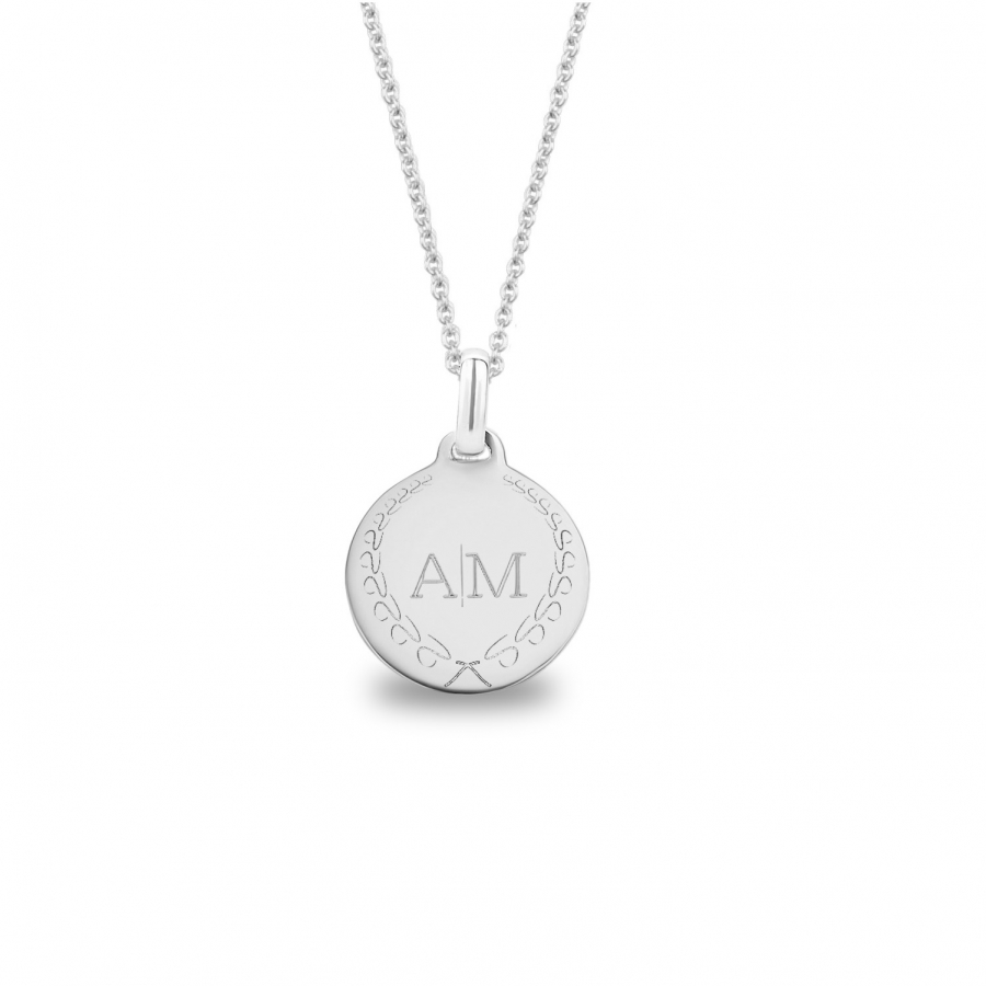 Medium Coin 2 Initial Necklace Silver, Valenti Persona