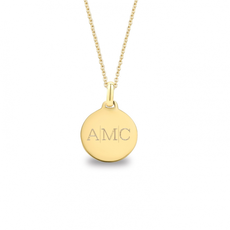 Medium Coin 3 Initial Necklace Gold 14kt, Valenti Persona