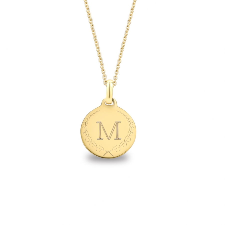 Medium Coin 1 Initial Necklace Gold 14kt, Valenti Persona