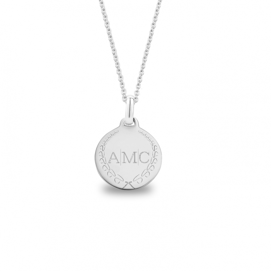 Medium Coin 3 Initial Necklace Silver, Valenti Persona