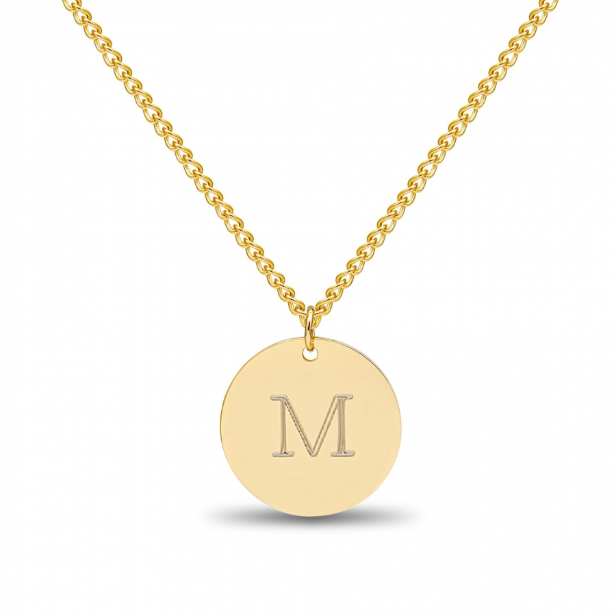 Large Coin 1 Initial Necklace Gold 14kt, Valenti Persona