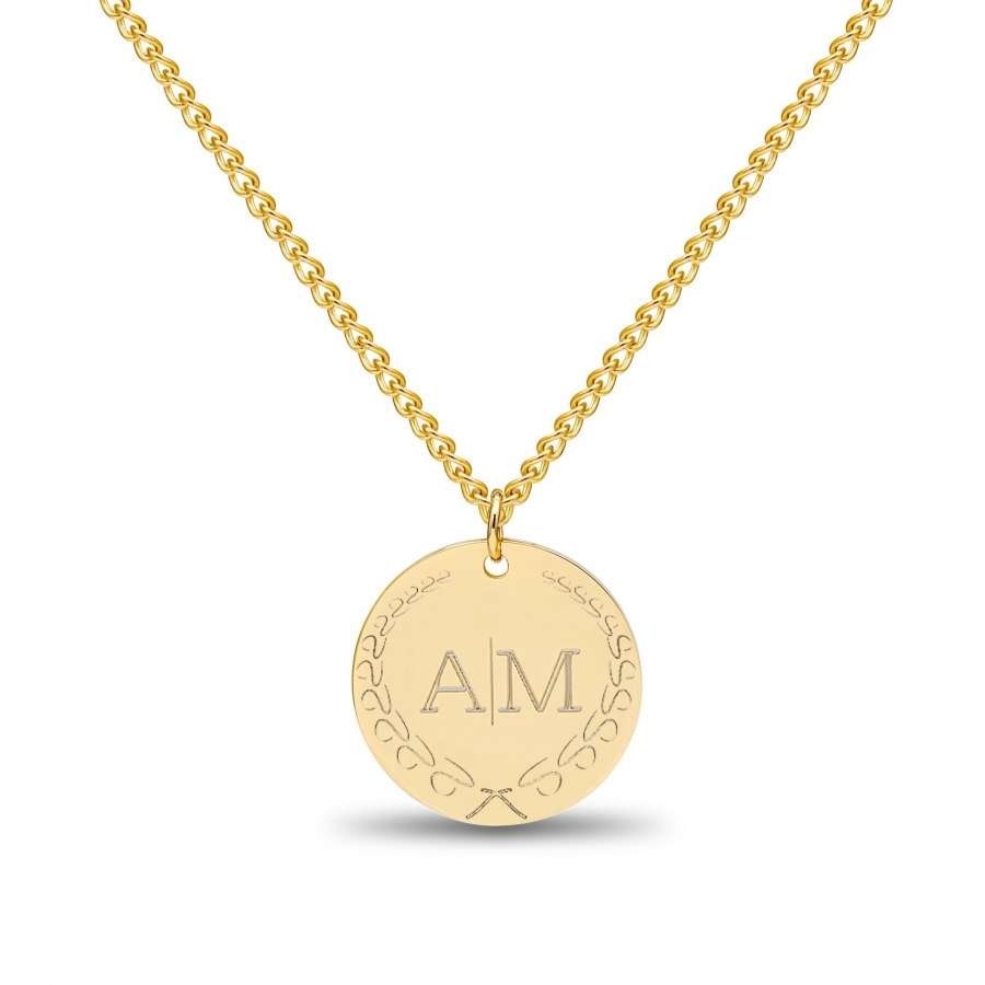 Large Coin 2 Initial Necklace Gold 14kt, Valenti Persona