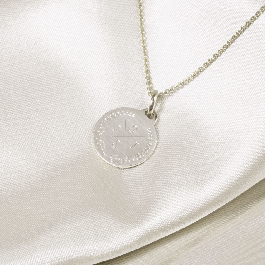 Medium Coin 4 Initial Necklace Silver, Valenti Persona