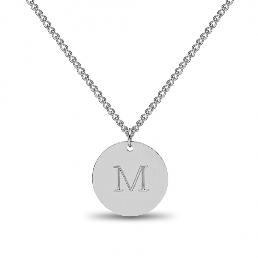 Large Coin 1 Initial Necklace Silver, Valenti Persona