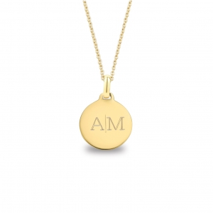 Medium Coin 2 Initial Necklace Gold 14kt