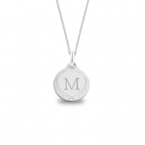 Medium Coin 1 Initial Necklace Silver