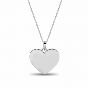 Engraved Heart Necklace Silver  Valenti Persona