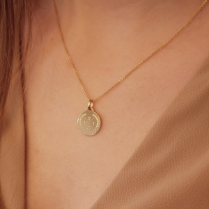 Medium Coin 4 Initial Necklace Gold 14kt  Valenti Persona