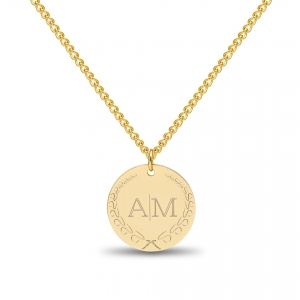 Large Coin 2 Initial Necklace Gold 14kt