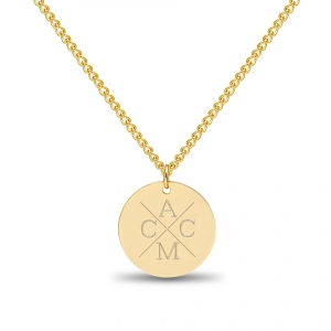 Large Coin 4 Initial Necklace Gold 14kt