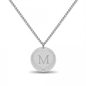 Large Coin 1 Initial Necklace Silver