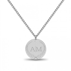 Large Coin 2 Initial Necklace Silver   Valenti Persona